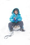Sledging in a blizzard Stock Photography