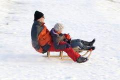 Sledging - winter fun Stock Photography