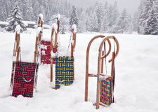 Sleds waiting in the snow Royalty Free Stock Photography