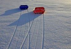 Sleeën op sneeuw (2) Royalty-vrije Stock Afbeelding