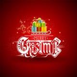 Slee met stapel van ambacht-dozen bij Kerstmis het van letters voorzien op rood Stock Afbeelding
