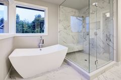 Sleek bathroom features freestanding bathtub. Atop marble floor placed in front of glass shower accented with rain shower head and gray and white marble Stock Photo