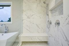 Sleek bathroom features marble walk-in shower. Sleek bathroom features freestanding bathtub and glass shower accented with rain shower head and gray and white Stock Images