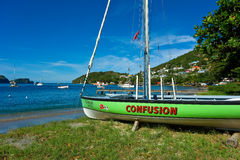 A sleek bequia dinghy ready to race Stock Photography