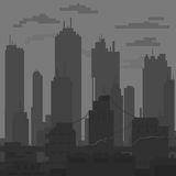 Sleek black and white city painted flat brush vector Royalty Free Stock Images