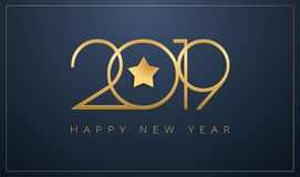 Sleek 2019 Happy New Year greeting card Golden star design for C. Sleek 2019 Happy New Year greeting card. Golden star design for Christmas and New Year 2019 Stock Image