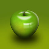 Sleek high gloss green apple Stock Image