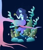 Magic mermaid concent. Sleek illustration of magic beast mermaid in the forest Royalty Free Stock Images