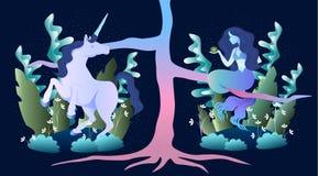 Magic mermaid and unicorn. Sleek illustration of magic beast mermaid and unicorn in the forest Stock Image