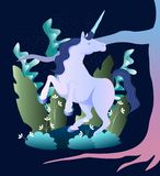 Magic unicorn illustration. Sleek illustration of magic beast unicorn in the forest Royalty Free Stock Photos
