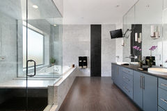 Sleek master bath in luxury home Stock Photo