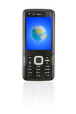 Sleek Mobile Phone. With a picture of globe on screen Stock Image
