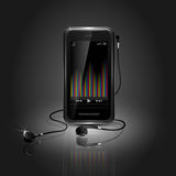 Sleek Mobile Phone Playing Music Stock Photography