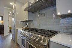 Sleek modern kitchen design with a glossy gray backsplash. Sleek modern kitchen design with a glossy gray backsplash, 8 burner range top and stainless steel stock photos