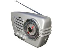 Sleek retro radio. Funky retro radio set in silver Royalty Free Stock Images