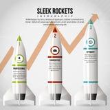 Sleek Rocket Infographic. Vector illustration of sleek rocket infographic design element vector illustration