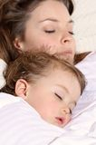 Sleep. Face of mother and child sleeping Royalty Free Stock Photos