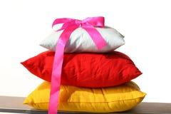 Sleep. Pillow white red yellow sleep Stock Photography