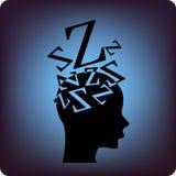 Sleep. Brain sleeping soundly concept on blue Stock Photo