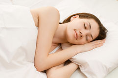 Sleep. A girl is having a sleep of a just stock image