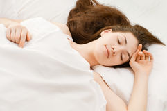 Sleep. A girl is having a sleep of a just royalty free stock image