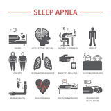 Sleep Apnea icons set. Vector signs. Royalty Free Stock Photos