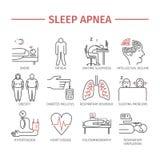 Sleep Apnea. Line icons set. Stock Images