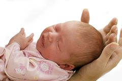 Sleep Baby. On a mother hands stock photography