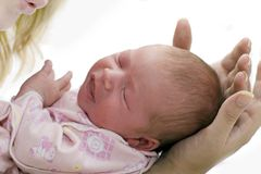 Sleep Baby. On a mother hands Royalty Free Stock Photos