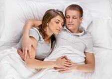 Sleep in bed Stock Photo