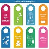 Sleep Bedroom Door Hanger Signs, Brights. 8 styles bedroom door hanger signs for sleepy time, bright colors. EPS8 compatible Stock Images