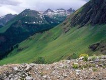 Sleep boven South Fork van Minerale Kreek, San Juan Range, Colorado Stock Fotografie