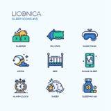 Sleep - coloured modern single line icons set Stock Photography