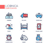 Sleep - coloured modern single line icons set. Sleep - coloured vector modern single line icons set royalty free illustration