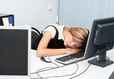 Sleep at computer Stock Photos