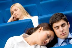 Sleep during conference Stock Photo