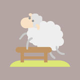 Sleep cute cartoon sheep icon vector illustration dream bedroom isolated design bedtime animal fun wool count jump Royalty Free Stock Image