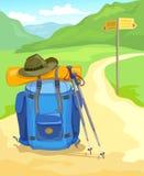 Sleep in de bergen, de reiziger van de toeristenrugzak royalty-vrije illustratie