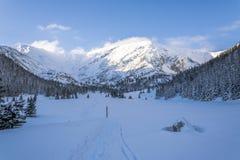 Sleep in de bergvallei in de winter Royalty-vrije Stock Afbeelding