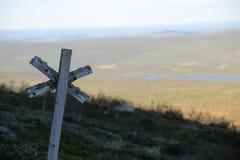 Sleep die bij de berg Ansaett in Zweden merken royalty-vrije stock afbeelding