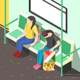 Sleep Disorder Isometric Background. With tired woman during nap in metro carriage vector illustration Stock Photo