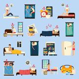 Sleep Disorder Orthogonal Flat Icons. People with insomnia, healthy night rest, medications and earplugs isolated vector illustration vector illustration
