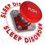 Sleep Disorder. Word written around a panic button, white background, somnipathy concept Stock Image