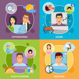 Sleep Disorders Compositions Set. Four square sleeping disorder compositions with flat images representing different kinds of somnipathy with patient characters Royalty Free Stock Photo