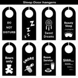 Sleep Door Hangers. Door hangers for sleepy time in eight styles: Do Not Disturb, ZZZ, Dream Catcher, Beauty Sleep, Teddy Bears Only, Snore, Sawing logs, Room Royalty Free Stock Photo