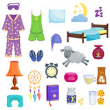 Sleep dream icons vector set. Royalty Free Stock Photo