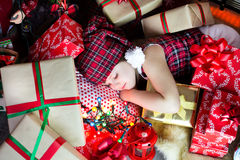 Sleep among the gifts Stock Photography