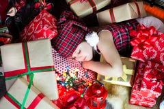 Sleep among the gifts Stock Photography