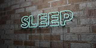 SLEEP - Glowing Neon Sign on stonework wall - 3D rendered royalty free stock illustration. Can be used for online banner ads and direct mailers Stock Photography
