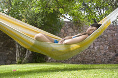 Sleep in hammock Stock Photos